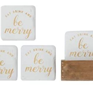 ⭐3/$25 Holiday Coasters by Creative Co-Op